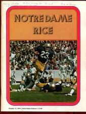 College Football Program Notre Dame 1974 Rice