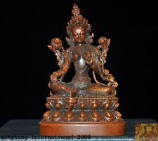 "5""Tibetan Buddhism Boxwood Wood carved green Tara Kwan-Yin Guanyin Buddha statue"