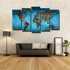World Map Set Of 5 Pcs Puzzle Thin Canvas Poster Art Home Bar Wall Decor 15