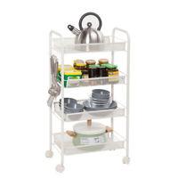 Honeycomb Net 4Tiers Rolling Storage Cart Laundry Organizer Rack Shelves Kitchen