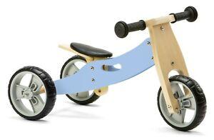Nicko NIC816 Pastel Blue Mini Convertible Wooden Balance Bike Toddler Trike