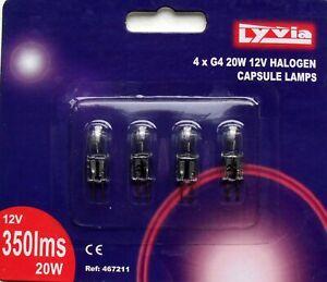 Halogen light bulb capsule 12v G4 base 20w pack of 4 by Lyvia