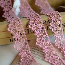 Delicate dark pink flower Embroidered Lace Trim  - price for 1 yard