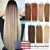 Double Drawn Full 1g/s Remy Human Hair Micro Ring Loop Beads Tip Hair Extensions