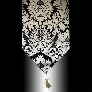 LUXURY RETRO BLACK BEIGE DAMASK VELVET DECORATIVE TASSEL TABLE RUNNER CLOTH