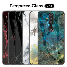For Nokia X6 X7 8.1 7.1 3.1 Plus Slim Marble Tempered Glass Hard Back Case Cover