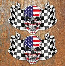USA CHEQUERED FLAG SKULL LAMINATED STICKERS x2 170x110mm Car Motorbike American