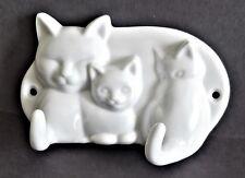 New listing Vtg White Porcelain Cats Wall Hook Kitten Key Hanger Jewelry Hooks Cat Decor