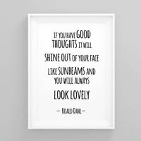 Motivational inspirational Poster Print Picture Wall Art Roald Dahl Quote