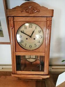 Jauch Wall Clock Wind up Wooden 1950/60's 60x30cm, Needs repair