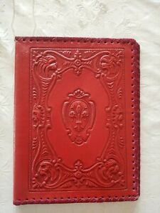 vintage red leather book cover or file organiser 19 cm x 24 cm