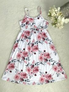 size 2/3/4/5/6/8/10 years new girls dress pink floral maxi dress -select size