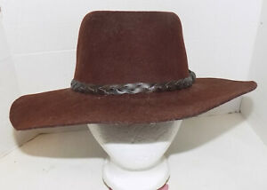 Brown Wool Gunslinger Cowboy Hat 7 1/8 Braided Leather Trim