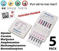 5X URINE DRUG TESTS, DRUG TESTING KITS, DRUG SCREEN, HOME TEST, DETECTS 6 DRUGS