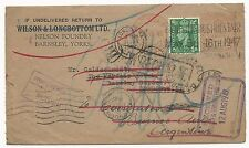 Great Britain Scott #258 on Cover Fwd & Transit Stamps to Argentina 1947