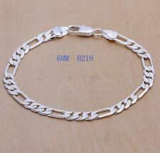 925 Sterling Silver Plated Figaro Curb Chain 6mm Bracelet 19cm + Gift Bag