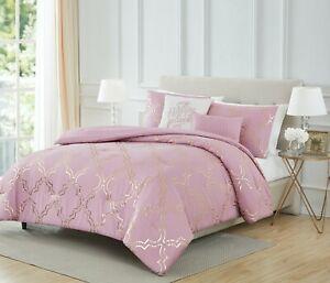 Adriana 5 Piece Foil Comforter Set Modern Print Olivia Gray Queen, King 5 Colors