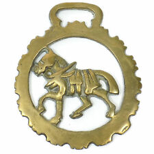 Vintage Horse BRIDLE CHARM Medallion Solid BRASS Decoration ARMORED HORSE