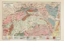 Geologische Karte SUDETEN Sudetenland von 1906 Riesengebirge Eulengebirge
