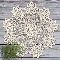 """Vintage Hand Crochet Cotton Lace Doilies Round Tablecloth Decoration 23"""" Beige"""