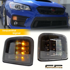 FOR 15-20 SUBARU WRX / STI Sequentia Amber LED Front Turn Signal Black Housing
