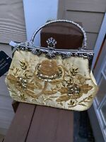 Womens Vintage Flowers Beaded sequin Evening Bag Clutch Wedding Party Purse