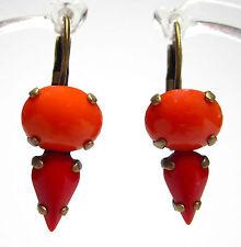 SoHo® Ohrhänger Ohrringe tropfen vintage bohemia glas coral orange rot 1960´s
