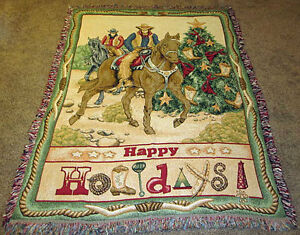 Western Christmas Cowboy Boots/Lassos/Spurs/Red Bandanas Tapestry Afghan Throw