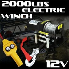 2000lb Electric Cable Winch ATV Boat 12V Mounting Plate Car 153:1 Puller UTV HD