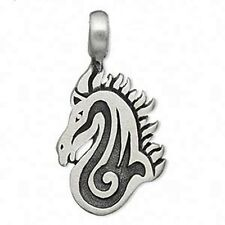 """Western Jewelry Inlay Horse Head Pewter Pendant/Necklace W/19.7"""" Ball Chain"""