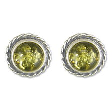 Pair of amber stud silver earrings for pierced ears in gift box
