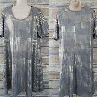Paper Plane Stitch Fix Size 1X Metallic Shift Dress Plus Gold Silver Striped