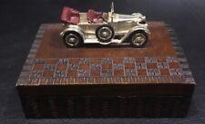 CARVED WOOD CIGAR BOX WITH VINTAGE MODEL CAR , CAR MODEL BY LESNEY ENGLAND