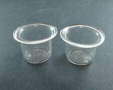 LOT DE 2 GODETS EN VERRE ANCIENS INTERIEUR ENCRIER RARE ECRITURE GLASS INKWELL