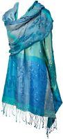 Abend Schal 100% Seide silk bestickt stole handembroidered Türkis Turquoise