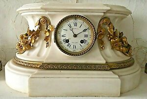 Antique Tiffany & Co 19th C Ormolu Gilt Bronze Clock Mantal Neoclassical Marble