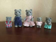 Vtg Lot 5 Grey Bear Calico Critters Sylvanian Family Flocked Animal