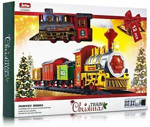 Christmas Train Set Track Deluxe Musical Sound Light Around Tree Decoration 12pc