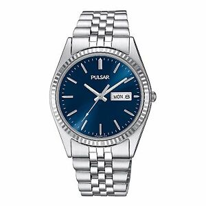 Pulsar Men's PXF303 Silver Stainless Steel Blue Dial Day and Date Quartz Watch