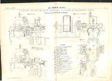Plan coupe Turbine hydraulique Pelton à l'Usine Beaumont Génie Civil 1911-1912