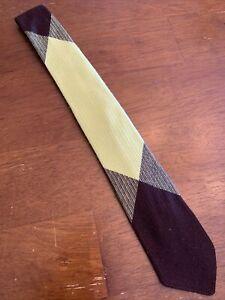 """Vintage 1950s 50s Tissé Dacron Pull Tissu Cravate Fine Rockabilly Argile 52"""""""