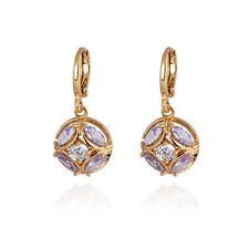 De lujo Mujer De chica Joyería Pendientes Largos 18K Cristal Chapado En Oro