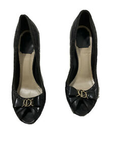 Christian Dior Lady Peep Black Patent Leather Platform Pumps EU 38 US 8