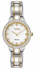 Citizen Eco-Drive Women's EX1364-59A Crystal Bezel Two Tone Bracelet 28mm Watch