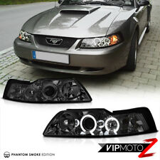 For 99-04 Ford Mustang V8 V6 GT 5.0 [SMOKE] Halo LED Projector Headlights Lamps