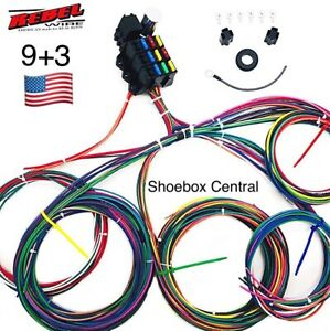 Rebel Wire 12 Volt Wiring Harness, 9+3 Circuit Universal Kit, Made in the USA!!