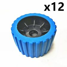 """12x 3"""" Boat Trailer Wobble Roller Blue Ribbed Poly 110x73mm 23mm Bore Diameter"""