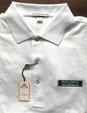Peter Millar White Green Steele Street Bank & Trust Logo Golf Polo Shirt Size M