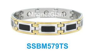 SSBM579TS - Gold, Silver and Black Mens stainless steel link bracelet 5000 Gauss
