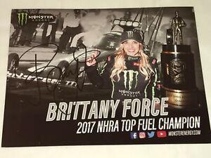 Brittany Force 2017 CHAMPION MONSTER ENERGY TF NHRA 8x10 HERO CARD photo HTF!